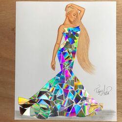 Пазл онлайн: Мозаичное платье