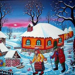 Пазл онлайн: Зима в деревне
