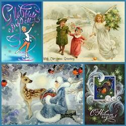 Пазл онлайн: Новогодние ретро- открытки