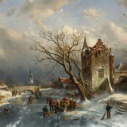 Пазл онлайн: Зимний пейзаж с деревней