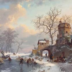 Пазл онлайн: Зимний пейзаж с фигурами на льду