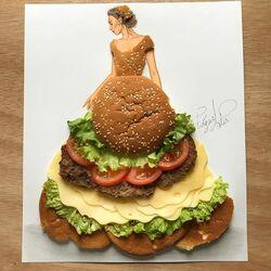 Пазл онлайн: Платье из гамбургера