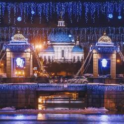 Пазл онлайн: Праздничная Фонтанка