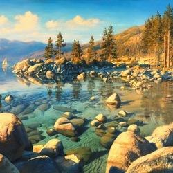 Пазл онлайн: Безмятежность озера Тахо