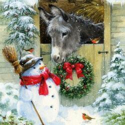 Пазл онлайн: Ослик и снеговичок