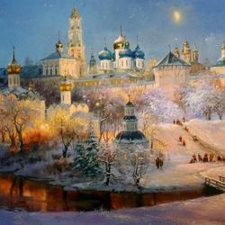 Пазл онлайн: Рождественский вечер в Загорске