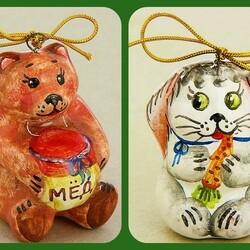 Пазл онлайн: Ёлочные зверушки из керамики