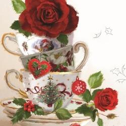 Пазл онлайн: Розы и чашки