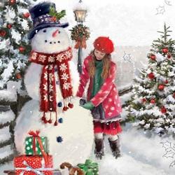 Пазл онлайн: Лепка снеговика