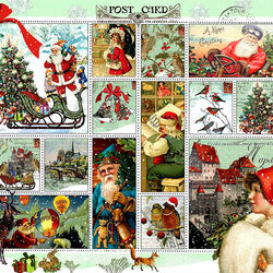 Пазл онлайн: Рождественские винтажные марки