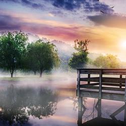 Пазл онлайн: Туман над озером