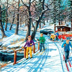 Пазл онлайн: Прогулка на лыжах
