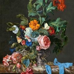 Пазл онлайн: Цветочный натюрморт с часами