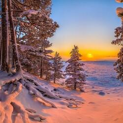 Пазл онлайн: Закат на Ладожском озере