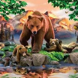 Пазл онлайн: Медведи-гризли