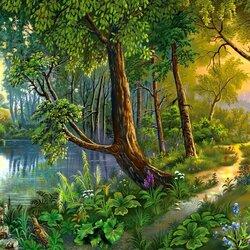 Пазл онлайн: Лесная тропинка