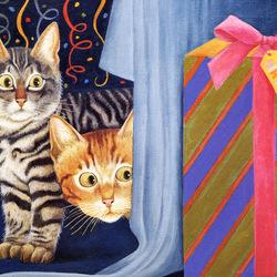 Пазл онлайн: Любопытные котики