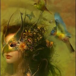 Пазл онлайн: Птичья маска
