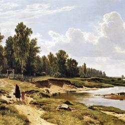 Пазл онлайн: Речка Лиговка в деревне Константиновка близ Петербурга