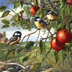 Пазл онлайн: Птички-синички