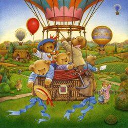 Пазл онлайн: На большом воздушном шаре...