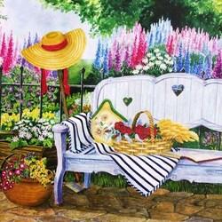 Пазл онлайн: Садовая скамейка