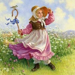 Пазл онлайн: Маленькая пастушка