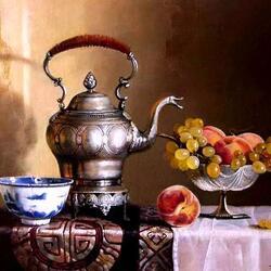 Пазл онлайн: Натюрморт с серебряным чайником