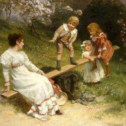 Пазл онлайн: Малыши на качелях