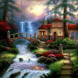 Пазл онлайн: Дом у водопада