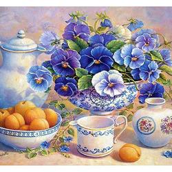 Пазл онлайн: Виолы и абрикосы