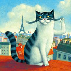 Пазл онлайн: Парижский кот