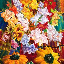 Пазл онлайн: Цветы и тыквы