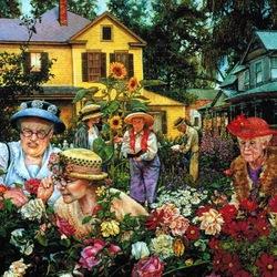 Пазл онлайн: Любительницы цветов