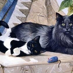 Пазл онлайн: Кошки и мышка