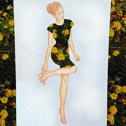 Пазл онлайн: Цветочное платье