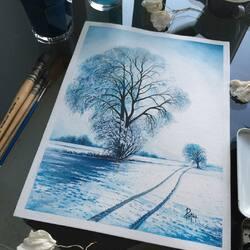 Пазл онлайн: След на снегу