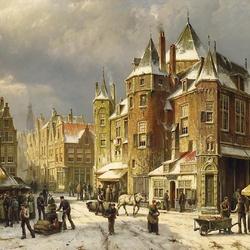 Пазл онлайн: Торговая площадь зимой