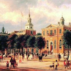 Пазл онлайн: Зал Независимости в Филадельфии