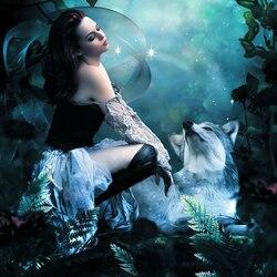 Пазл онлайн: Девушка с волком