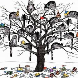 Пазл онлайн: Коты на дереве