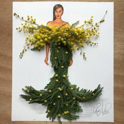 Пазл онлайн: Платье из цветов мимозы