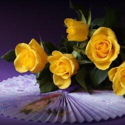 Пазл онлайн: Розы и веер