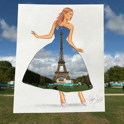 Пазл онлайн: Платье с Эйфелевой башней