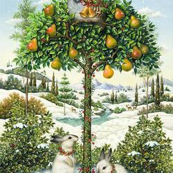 Пазл онлайн: Куропатка на грушевом дереве