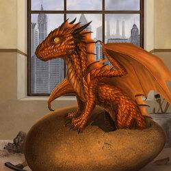 Пазл онлайн: Вылупление оранжевого дракона