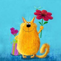 Пазл онлайн: Поздравительный котик