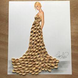 Пазл онлайн: Платье из фисташковой скорлупы