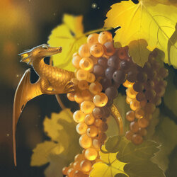 Пазл онлайн: Дракон и виноград