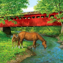 Пазл онлайн: Красный мост